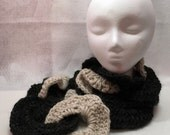 Scarf, Linked Circles, Chain Link Scarf, Neckwarmer, Black & White, Winter Scarf, Crochet Scarf, Wool Scarf, Black, White, Circle Scarf