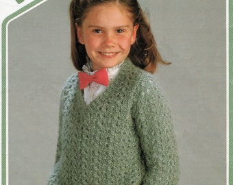 Knitting Pattern PDF Girl's V Neck Sweater