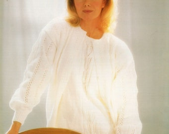 Ladies Cardigan and Top Knitting Pattern 32 - 44 inches