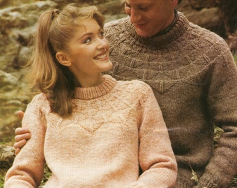 Chunky Yarn Knitting Pattern His and Hers Casual Sweater 32 - 44 inches