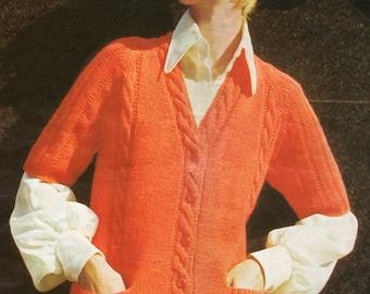 Ladies Cable Cardigan Knitting Pattern