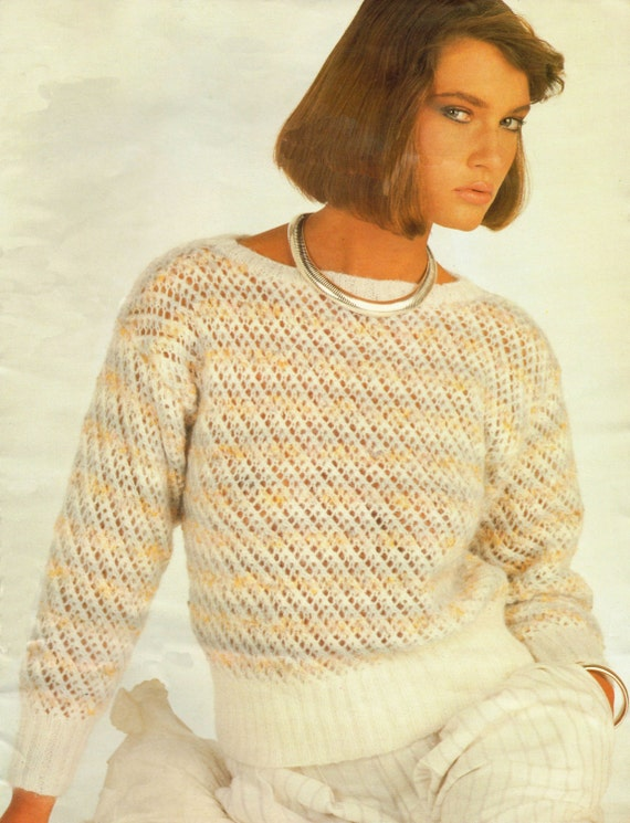 Ladys Knitting Pattern Lacy Striped Sweater 32 38
