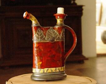 Pottery Pitcher, Handmade Ceramic Bottle, Wheel Thrown Water Jug, Glazed Pitcher, Pottery Handmade Hand painted, Danko Pottery
