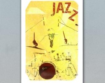 Jazz Poster, Jazz Illustration, Jazz Drums, Fine Art Print, Music Prints, Jazz Print, Club Decor, Music Art, Art Poster, Wall Decor, Jazzart