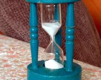Old wood blue egg timer