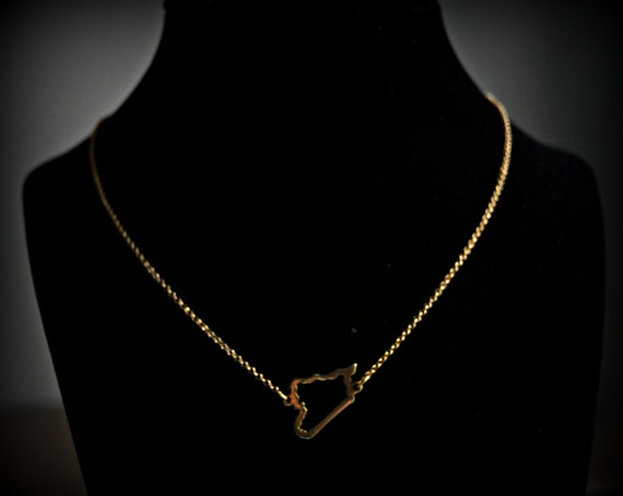 Items Similar To Syria Map Necklace Or Syria In Arabic