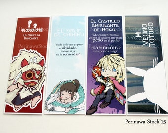 Studio Ghibli set Bookmarks. Set of points of book of Studio Ghibli.