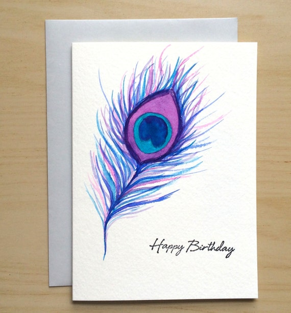 Items similar to hand painted card 5x7 watercolor birthday card items similar to hand painted card 5x7 watercolor birthday card watercolor peacock feather original watercolor cards handmade card on etsy m4hsunfo