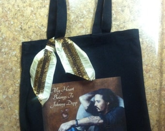 "Johnny Depp Tote, Actor Johnny Depp Bag, One of a Kind Tote, Original Design, Reads ""My Heart Belongs to Johnny Depp"""