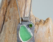 Antiqued Green Seaglass and 4mm Chrome Diopside Sterling Silver Pendant.