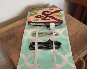Travel Electronics Cord Organizer in Mint and Multi-Color