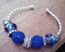 Twisted Silver Sapphire Blue Beaded Bangle for Women