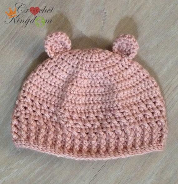 Baby Bear Beanie Cross Ribbed Crochet by CrochetKingdomAU ...