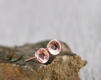 Copper stud earrings- Etching earrings - Small studs - Copper jewelry - Heart earrings