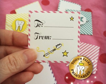 Tooth fairy Letters & Envelopes, Printable tooth fairy mini letters and envelope, tiny tooth fairy notes for girl, Instant download.