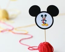 Mickey Mouse Cupcake Toppers, Cupcake Picks, Mickey Mouse Toppers, Minnie Toppers, Cake Decorations, Party Decorations, Minnie Mouse Cupcake
