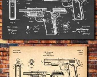 Browning M1911 Colt 45 Semi-Automatic Handgun Patent Print Art 1911