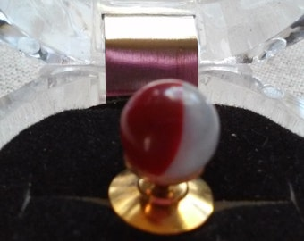 Red and White tie tack