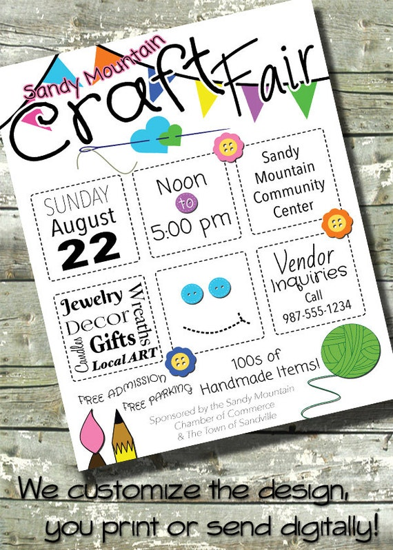 Arts craft fair bazaar flyer event poster community for Arts and crafts templates