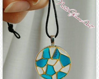Hand painted Mosaic glass pendant necklace