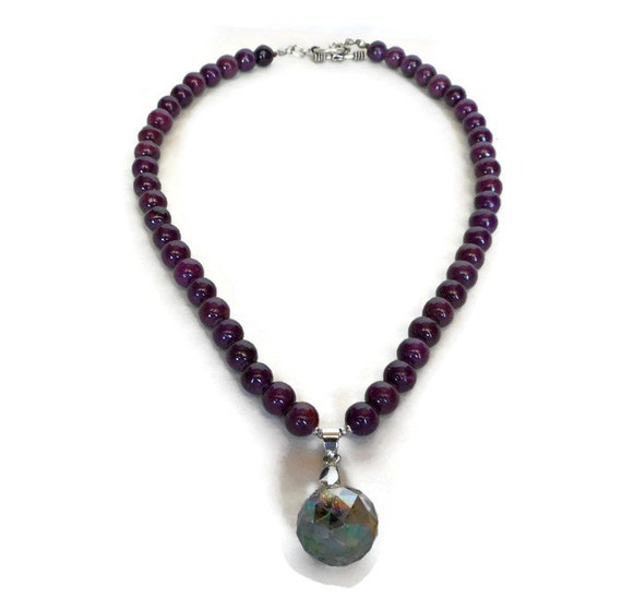 purple bead necklace purple jade necklace by