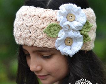 CROCHET HEADBAND PATTERN - Headband with Flowers (Toddler, Child, Adult sizes)