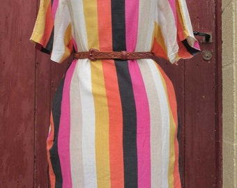 SALE Multicolored Stripy French Vintage Dress
