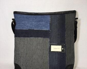 Denim shoulder bag & kimono HST15-0111