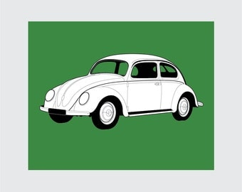1947 Volkswagon Beetle Art Print, 8x10 PRINTABLE, VW Bug, Instant Download, Digital