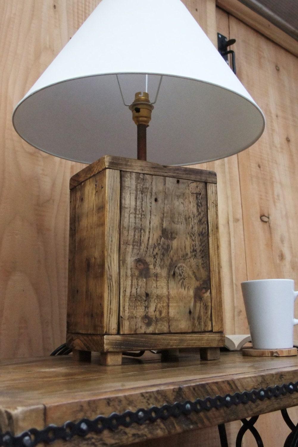 Rustic wood lamp base made from reclaimed pallet wood for Lamp wooden
