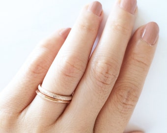 Matte Diamond Band And Simple Glossy Plain Band Ring Set 18K Rose Gold Ring Multifinger Ring Midi Tail Knuckle Ring Everyday Wedding Gift