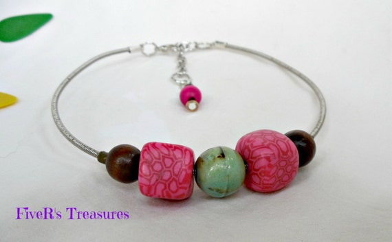 guitar string anklet recycled viva clay beads with wood and. Black Bedroom Furniture Sets. Home Design Ideas