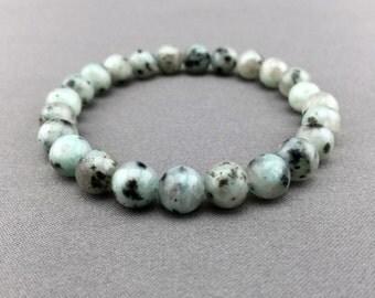 Genuine Sesame Jasper Bracelet, Green Bracelet, Gemstone Stretch Bracelet, Mens / Womens Bracelet, Natural Jewelry, Beaded Stone, Blue Beads