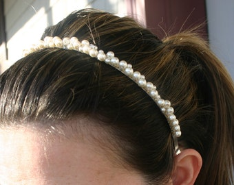 pearl headband, wedding headband, gold and pearl headband, bridesmaids gifts, weddings