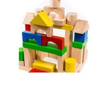 Wooden blocks (44ps). Wood constructor. Wood building blocks