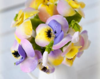 Small flower arrangements Pansy flower gift Winter pansies Violet Heartsease Viola Home accents Fake flowers Artificial flowers Faux flowers