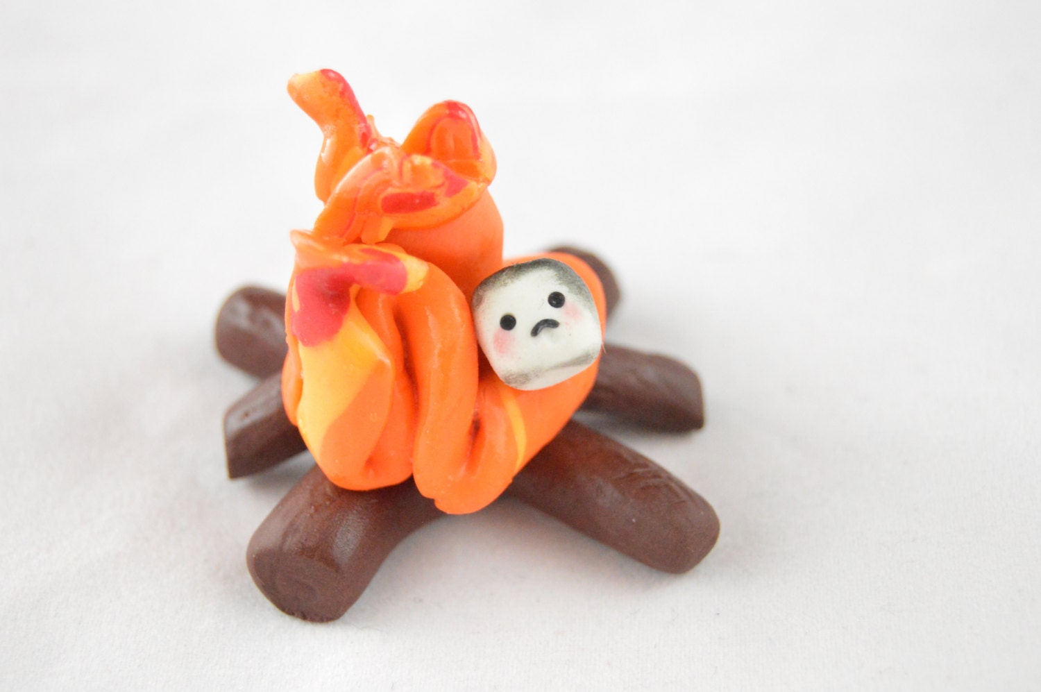 Fire Made Of Clay : Campfire clay figurine marshmallow polymer by