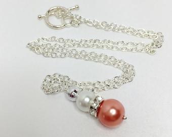 Peach & White Pearl Necklace Bridesmaid Necklace Jewelry Set Peach Necklace Beaded Jewelry Peach Jewelry Pastel Peach Necklace Bridal