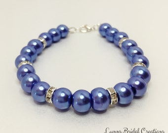 Bridesmaid Bracelet Blue Pearl Bracelet Pearl Jewelry Beaded Bracelet Mother of the Bride Gift Denim Blue Wedding Jewelry Crystal Bracelet