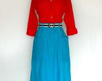 Bright Aqua Blue Cotton Skirt