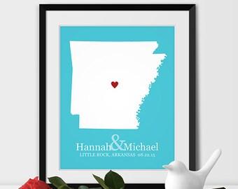 Arkansas Art Print, Arkansas Wedding Map of Little Rock Gift for Couples Wedding Gift, 1st Anniversary Gift Bride and Groom Gift - Any STATE