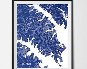 Annapolis Maryland State Map Art Print, US Navel Academy Annapolis Poster Gift Dorm Decor Graduation Gift Maryland Art Gift
