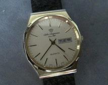 Vintage Jules Jurgensen Quartz Ultra-Thin Gold-Filled Men's Wristwatch