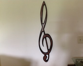 "Treble Clef Wall Art - Stylized Solid Wood - BIG  38"" x 9"" Dramatic Musical Symbol"