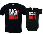 Big brother little brother shirts matching sibling shirts, Big Brothers Rock and Little Brothers Roll RCKSib