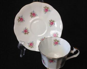 White Royal Victoria Fine Bone China Tea Cup and Saucer England Vintage