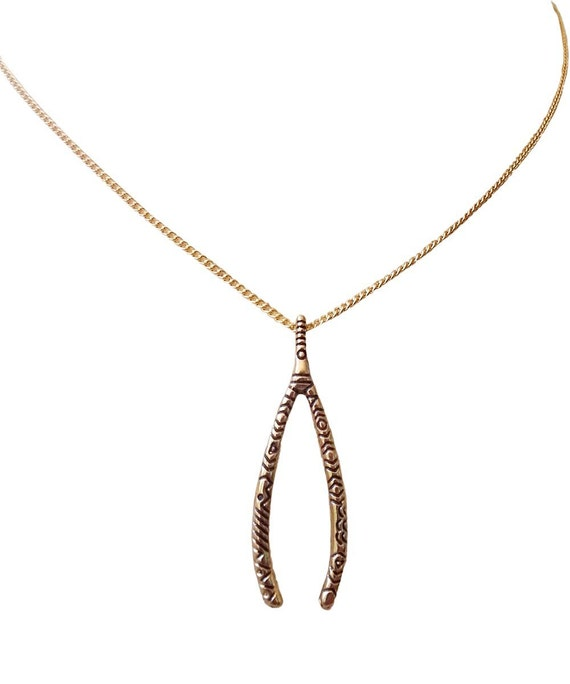 Lucky Wishbone Necklace  Antiqued gold tone  Wish Granted!