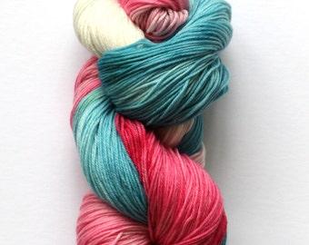Hand Dyed Sock Yarn, Pink and Blue Yarn, Superwash Merino Nylon Fingering Sock Yarn, 100 grams
