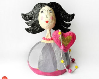 Woman Jewelry Stand, Woman Sculpture, Paper Mache Sculpture, Eco Friendly Gift, Girls Room Decor, Ooak Gift, Girl Jewelry Holder, Woman Deco