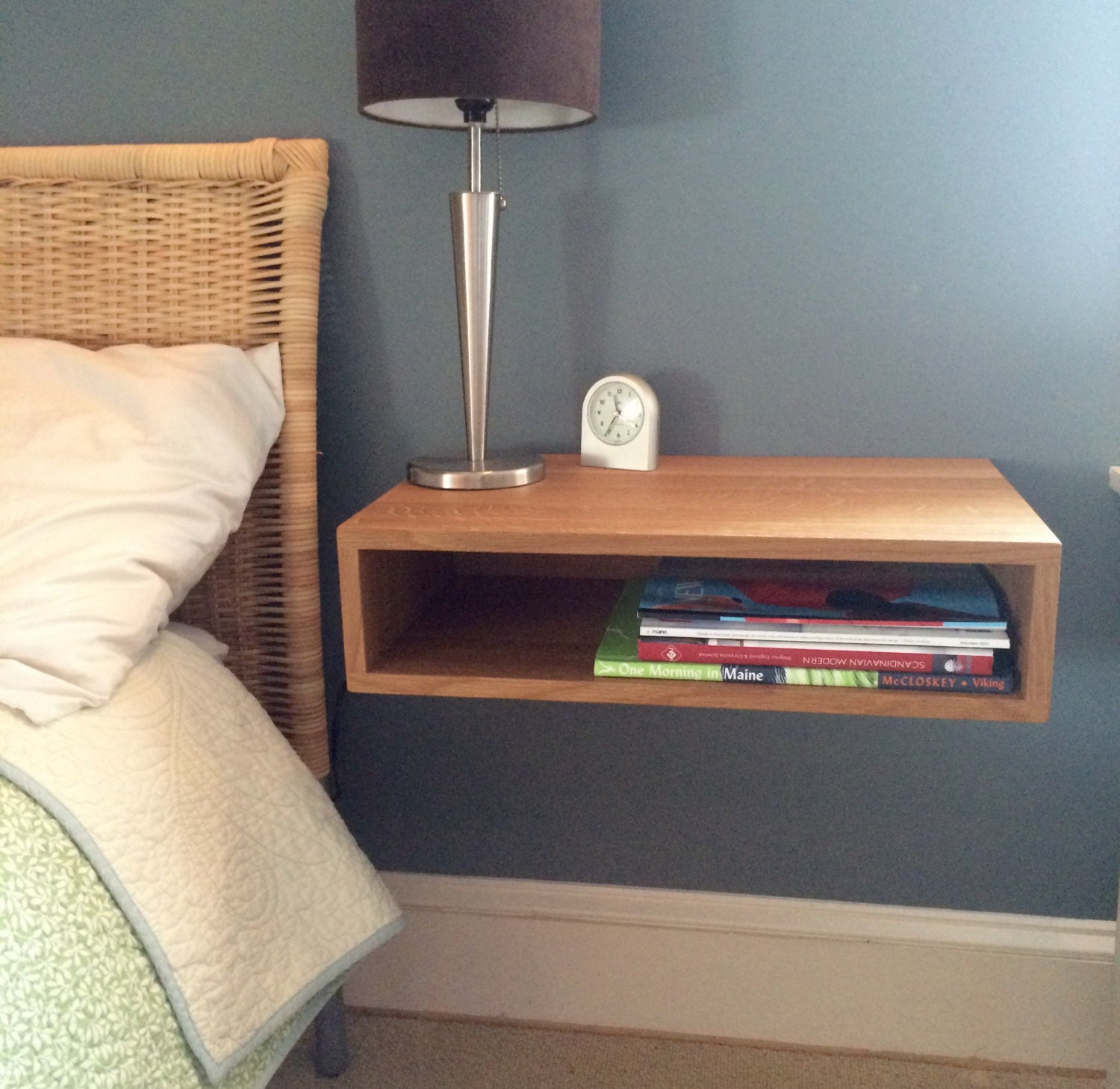 Floating nightstand bedside table in white oak by krovelmade for Bedside table shelf